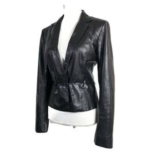 Theory Leather Jacket Black Cropped Belted